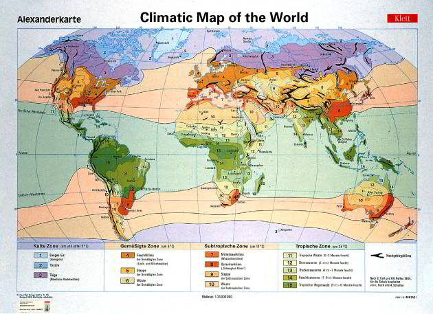 Wallmap Climate of the Earth
