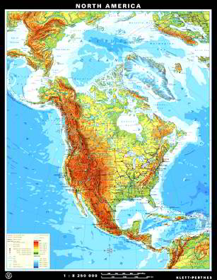 Wall Maps Special Offers Continents Klettmapscom - North america continent physical map