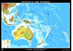 Australia and Oceania, physical/political, front