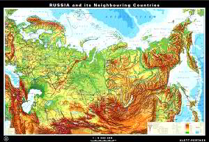 Russia and its neighbouring countries, physical