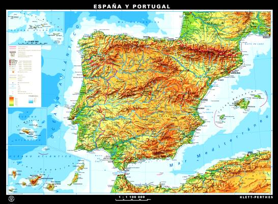 Wall Maps Spain Grades Klettmapscom - Portugal map size