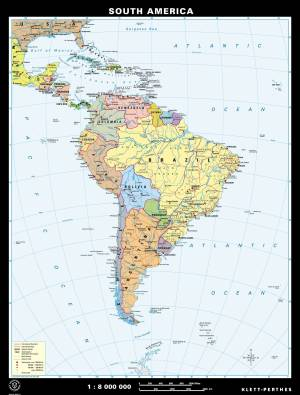 South America, physical/political, reverse